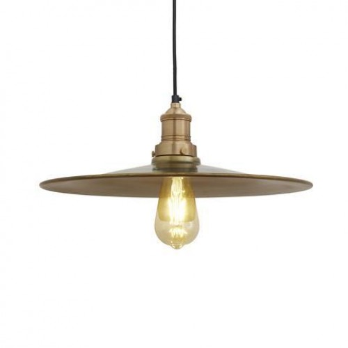 Brooklyn Antique Flat Industrial Pendant Light - Brass - 15 inch
