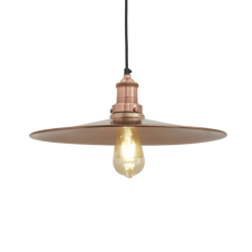 Brooklyn Antique Flat Industrial Pendant Light - Copper - 15 inch