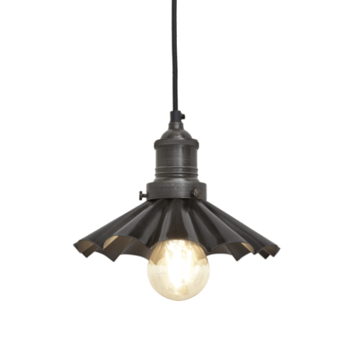 Brooklyn Vintage Umbrella Lampshade Pendant Light - Dark Pewter - 8 inch