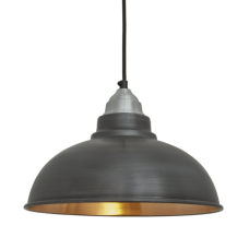 Old Factory Vintage Pendant Light - Dark Pewter and Copper - 12 inch