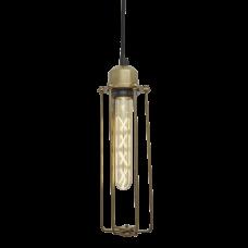 Orlando Cylinder Wire Cage Retro Pendant Light - Brass
