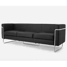 Le Bauhaus 3 Seater Sofa - Black Premium Leather and Stanless Steel