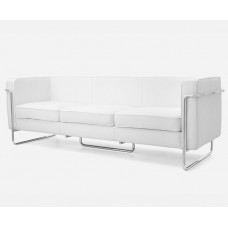 Le Bauhaus 3 Seater Sofa - White Premium Leather and Stainless Steel